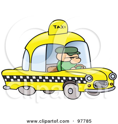 Royalty-Free (RF) Clip Art Illustration of a Toon Guy Taxi Driver by gnurf