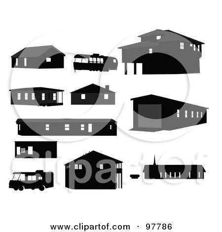 Royalty-Free (RF) Clipart Illustration of a Digital Collage Of Black Silhouetted Structures And Motorhomes by JR