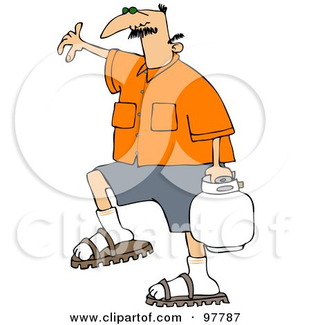 Royalty-Free (RF) Clipart Illustration of a Caucasian Man In An Orange Shirt, Carrying A Bbq Propane Tank by djart