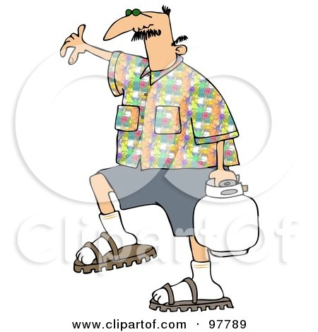 Royalty-Free (RF) Clipart Illustration of a Caucasian Man In A Patterned Shirt, Carrying A Bbq Propane Tank by djart