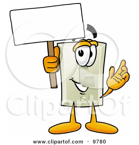Clipart Picture of a Light Switch Mascot Cartoon Character Holding a Blank Sign by Toons4Biz