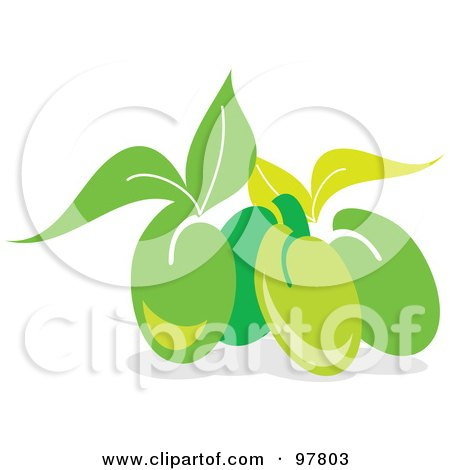 Royalty-Free (RF) Clipart Illustration of a Group Of Fresh Green Olives And Leaves by MacX