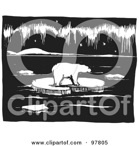 Royalty-Free (RF) Clipart Illustration of a Wood Engraved Styled Scene Of A Polar Bear Walking On Ice by xunantunich