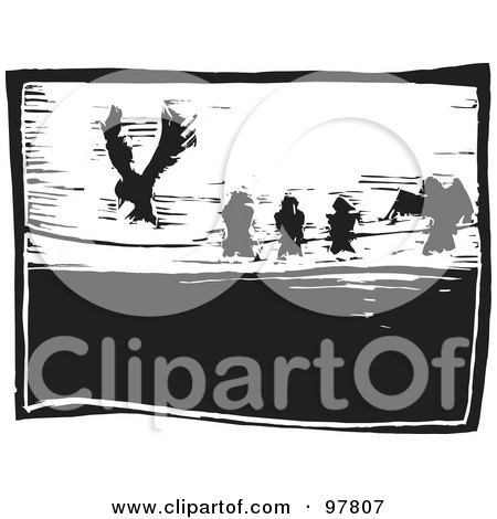 Royalty-Free (RF) Clipart Illustration of a Wood Engraved Styled Scene Of Five Birds On A Wire by xunantunich
