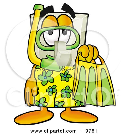 Light Switch Mascot Cartoon Character in Green and Yellow Snorkel Gear Posters, Art Prints