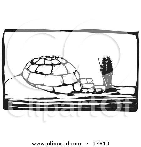 Royalty-Free (RF) Clipart Illustration of a Wood Engraved Styled Scene Of A Man Standing By An Igloo by xunantunich