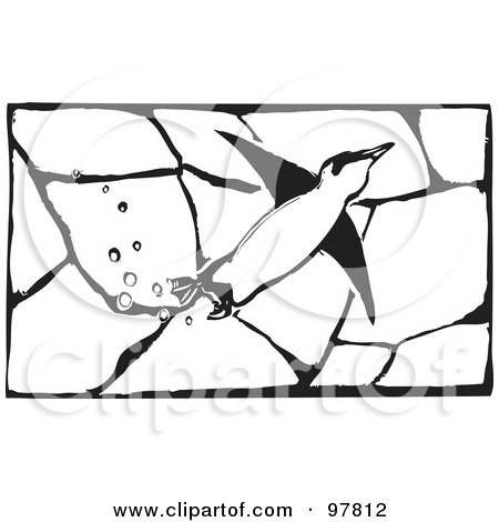 Wood Engraved Styled Scene Of A Penguin Swimming Under Ice Posters, Art Prints