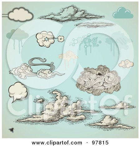 Royalty-Free (RF) Clipart Illustration of a Digital Collage Of Vintage And Grungy Styled Clouds Over Antique Blue by Anja Kaiser