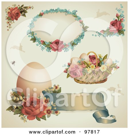 Digital Collage Of Victorian Easter Design Elements With Roses, Eggs And Baskets Posters, Art Prints