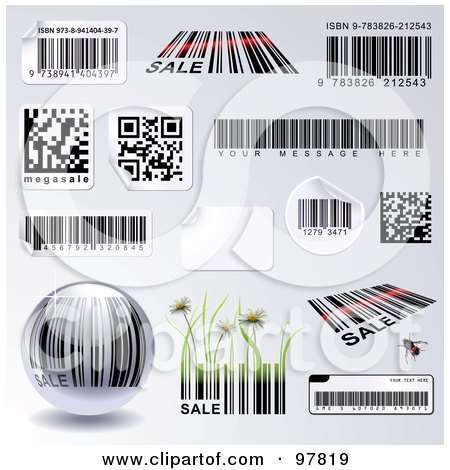 Royalty-Free (RF) Clipart Illustration of a Digital Collage Of Different Bar Codes And Stickers, Over Gray, Some With Sample Text by Anja Kaiser