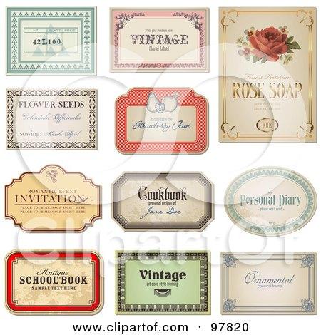 RoyaltyFree RF Clipart Illustration of a Digital Collage Of – Sample Product Labels