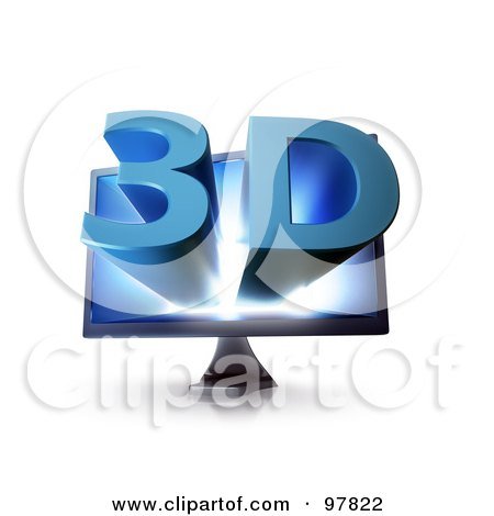Royalty-Free (RF) Clipart Illustration of a 3d Television Screen With Blue Text Popping Out Of The Screen by Mopic