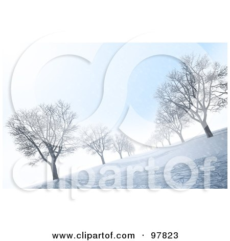 Royalty-Free (RF) Clipart Illustration of an Avenue Of Bare 3d Trees On A Winter Morning by Mopic