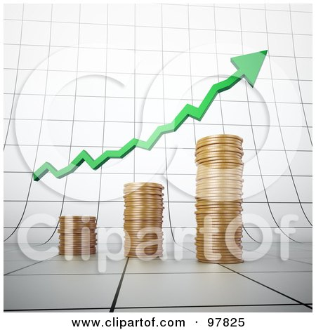 Royalty-Free (RF) Clipart Illustration of a 3d Gold Coin Bar Graph With A Green Arrow On A Graph by Mopic