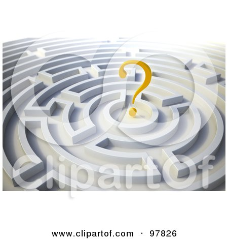Royalty-Free (RF) Clipart Illustration of a 3d Yellow Question Mark In A Round Maze by Mopic