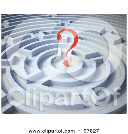 Royalty-Free (RF) Clipart Illustration of a 3d Red Question Mark In A Round Maze by Mopic