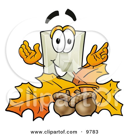 Clipart Picture of a Light Switch Mascot Cartoon Character With Autumn Leaves and Acorns in the Fall by Toons4Biz