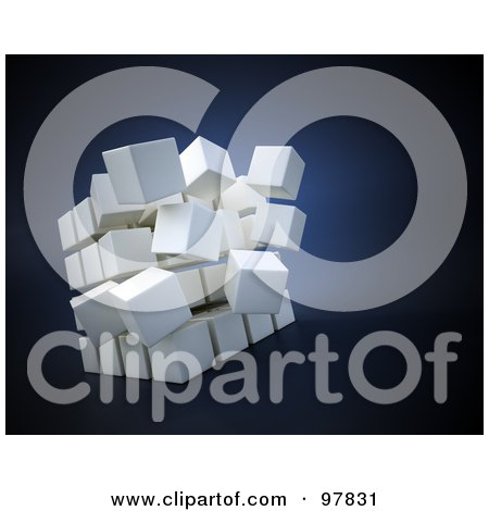 Royalty-Free (RF) Clipart Illustration of a White 3d Cube Separating Over Blue by Mopic