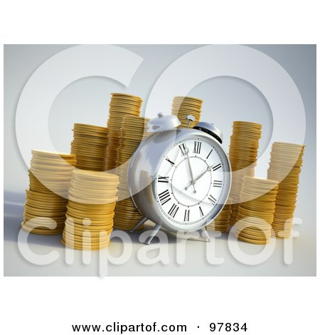 Royalty-Free (RF) Clipart Illustration of a 3d Alarm Clock By Piles Of Coins by Mopic