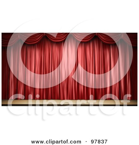 Royalty-Free (RF) Clipart Illustration of a 3d Stage With Elegant Red Drapes by Mopic