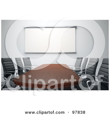 Royalty-Free (RF) Clipart Illustration of a 3d Wooden Meeting Room Table With Chairs And A White Board by Mopic