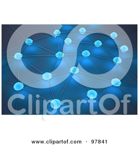 Royalty-Free (RF) Clipart Illustration of a 3d Blue Network Of Glowing Dots by Mopic