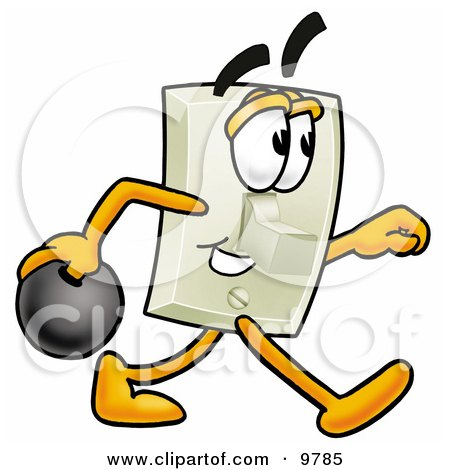 Clipart Picture of a Light Switch Mascot Cartoon Character Holding a Bowling Ball by Toons4Biz
