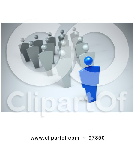 Royalty-Free (RF) Clipart Illustration of a 3d Blue Leader In Front Of A Group, Forming An Arrow by Mopic