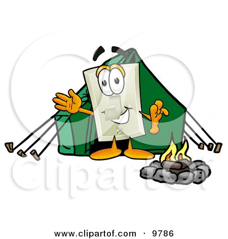 Light Switch Mascot Cartoon Character Camping With a Tent and Fire Posters, Art Prints