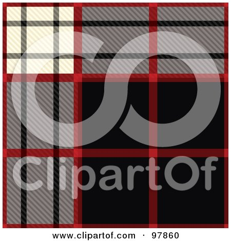 Royalty-Free (RF) Clipart Illustration of a Black, Red, Gray And White Tartain Plaid Background by michaeltravers