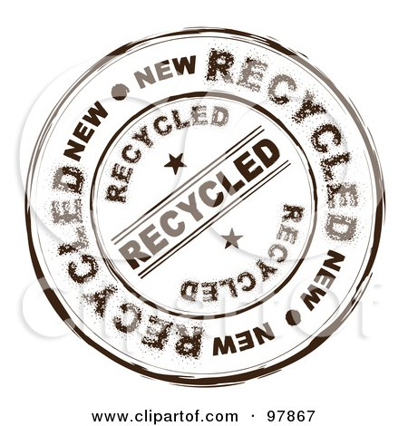 Royalty-Free (RF) Clip Art Illustration of a Round Distressed Recycled Ink Stamp by michaeltravers