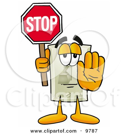 Light Switch Mascot Cartoon Character Holding a Stop Sign Posters, Art Prints