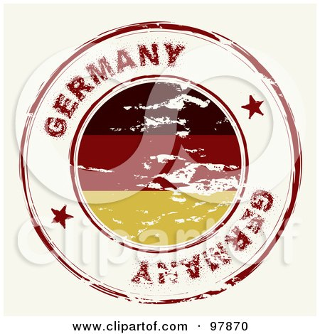 Royalty-Free (RF) Clipart Illustration of a Round Distressed Germany Ink Stamp by michaeltravers