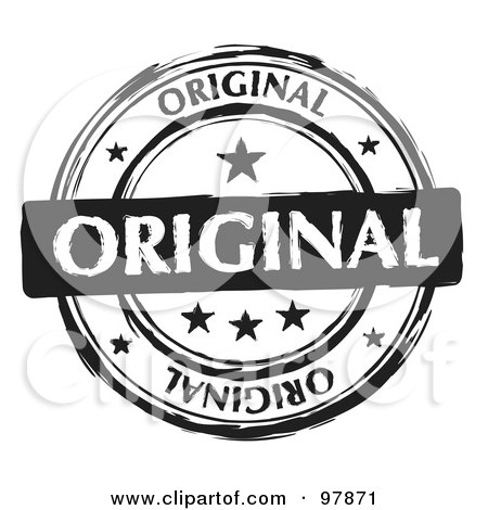 Royalty-Free (RF) Clipart Illustration of a Round Distressed Black And White Original Ink Stamp by michaeltravers