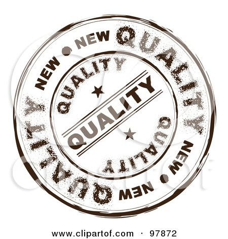 Royalty-Free (RF) Clipart Illustration of a Round Distressed Quality Ink Stamp by michaeltravers
