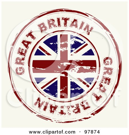 Royalty-Free (RF) Clipart Illustration of a Round Distressed Great Britain Ink Stamp by michaeltravers
