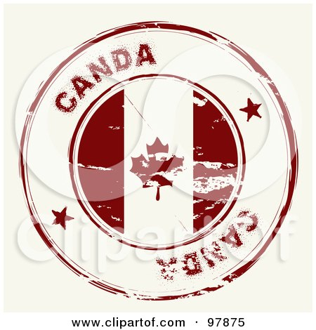 Royalty-Free (RF) Clipart Illustration of a Round Distressed Canada Ink Stamp by michaeltravers