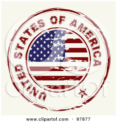 Royalty-Free (RF) Clipart Illustration of a Round Distressed American Ink Stamp by michaeltravers