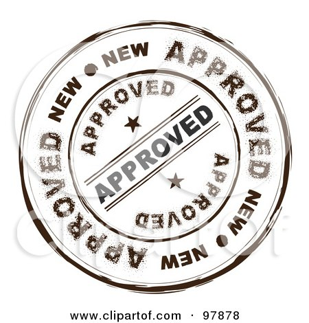 Royalty-Free (RF) Clipart Illustration of a Round Distressed Approved Ink Stamp by michaeltravers