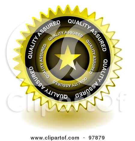 Golden Star Quality Sticker Seal Icon Posters, Art Prints