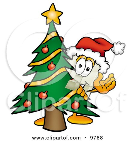 Light Switch Mascot Cartoon Character Waving and Standing by a Decorated Christmas Tree Posters, Art Prints