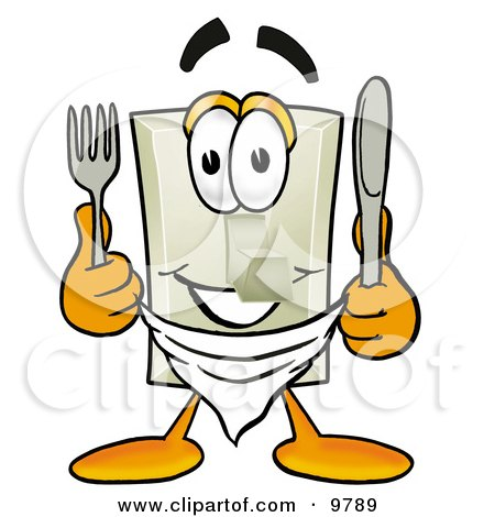 Clipart Picture of a Light Switch Mascot Cartoon Character Holding a Knife and Fork by Toons4Biz