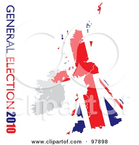 Royalty-Free (RF) Clipart Illustration of a Grungy Union Flag On White With General Election 2010 Text On The Left Side by michaeltravers