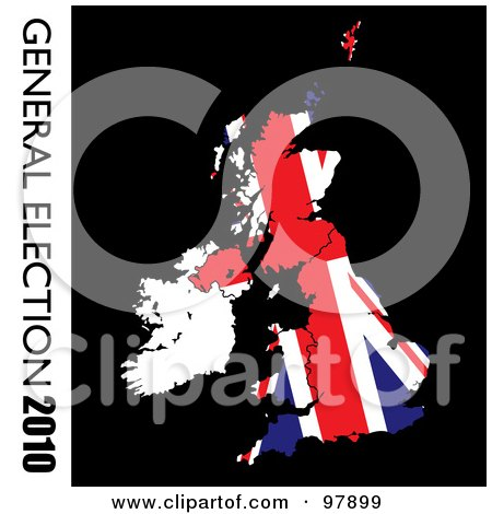 Royalty-Free (RF) Clipart Illustration of a Grungy Union Flag On Black With General Election 2010 Text On The Left Side by michaeltravers