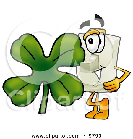 Clipart Picture of a Light Switch Mascot Cartoon Character With a Green Four Leaf Clover on St Paddy's or St Patricks Day by Toons4Biz