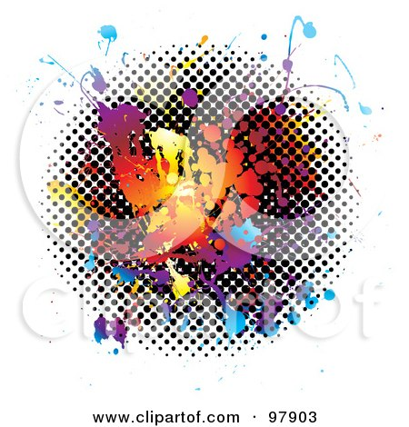 Royalty-Free (RF) Clipart Illustration of a Grungy Rainbow And Halftone Splatter On White by michaeltravers