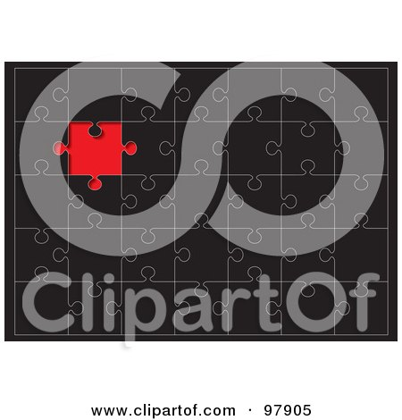 Royalty-Free (RF) Clipart Illustration of a Black Puzzle With A Red Space Where A Missing Piece Belongs by michaeltravers