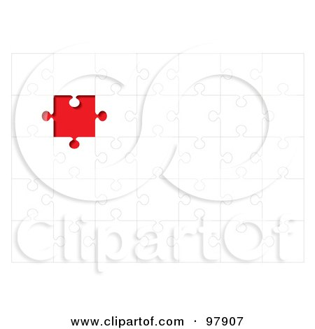 Royalty-Free (RF) Clipart Illustration of a White Puzzle With A Red Space Where A Missing Piece Belongs by michaeltravers