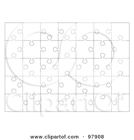 Royalty-Free (RF) Clipart Illustration of a Completed Flat White Jigsaw Puzzle by michaeltravers