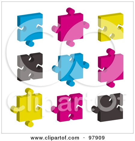 Royalty-Free (RF) Clipart Illustration of a Digital Collage Of Blue, Pink, Black And Yellow Puzzle Pieces by michaeltravers